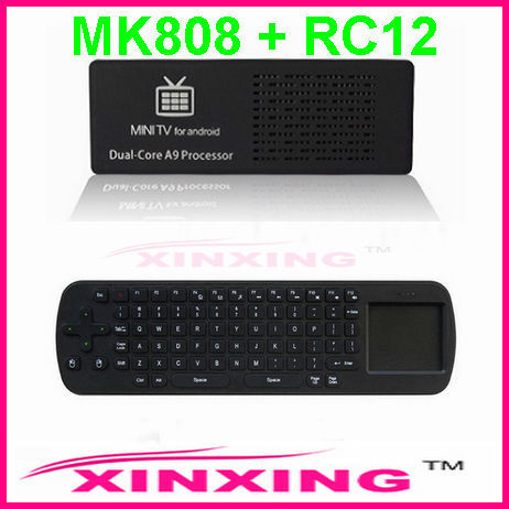Free Shipping Google TV Box Android 4.1 Jelly Bean Dual Core Rk3066 HDMI 1080P MK808 + RC12 Fly Mouse (1Lot=1pc MK808+1 pc RC12)