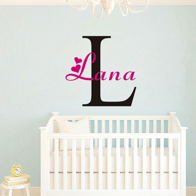 Custom Name Vinyl Wall Sticker Removable Lettering Sticky Words Wall Decal Any Girls Boys Name Art Decal(China (Mainland))