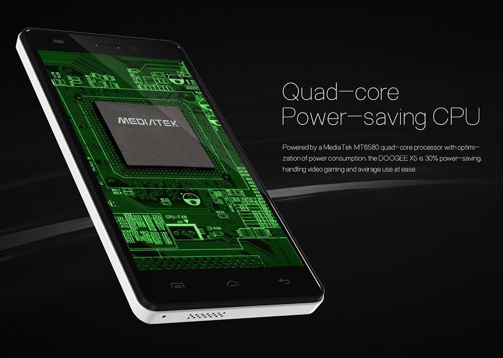 Original Doogee X5 5.0 inch HD 1280*720 IPS Android 5.1 MTK6580 Quad Core Smartphone 3G Dual SIM 1G RAM 8G ROM 8.0MP+5.0MP Hot