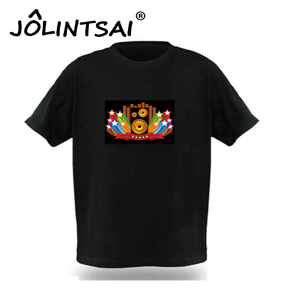 2017 Brand New Sound Activated LED T Shirt Men Women Light Up and Down Flashing Fashion T-Shirt For Rock Disco Party DJ Tshirt(China (Mainland))