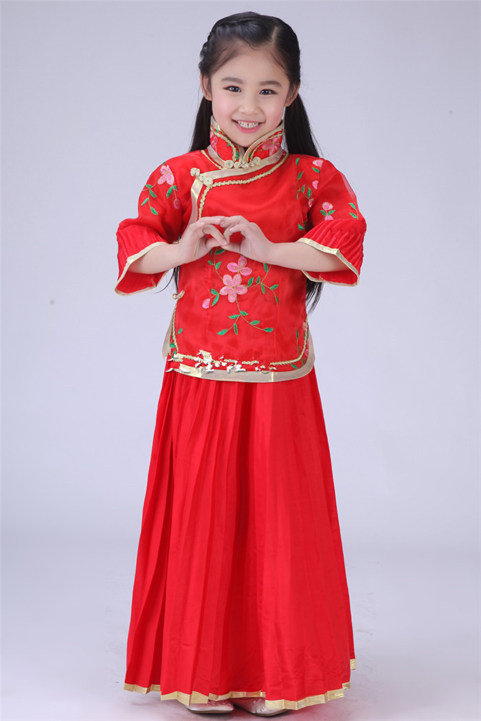 China Traditional Girl Clothing Chinese Tang Suit Kids New Year Dress ...