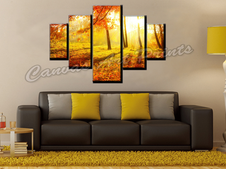 dropship cheap home decor canvas wall art painting modern 5 piece canvas art forest painting. Black Bedroom Furniture Sets. Home Design Ideas