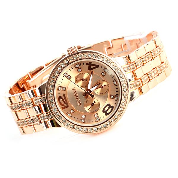 Гаджет  Geneva Bling Crystal Women Girl Watch Unisex Stainless Steel Quartz Wrist WatchFree&Drop Shipping None Часы