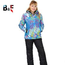 2016 womens ski suit ladies snowboard suit pants ski wear sportswear set jacket and black pants Large Size 6xl Free Shipping 131(China (Mainland))