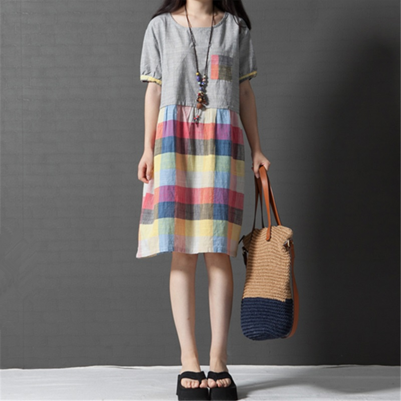 new fashion cotton linen plaid plus size women casual loose summer dress vestidos femininos party 2016 dresses(China (Mainland))