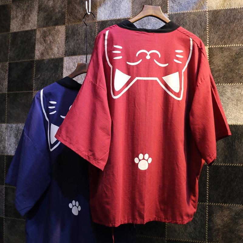 2016 Japanese fashion shirt summer kimono shirt Lucky Cat yukata catoon shirt kimono female Japanese culture cardigan cute shirt(China (Mainland))