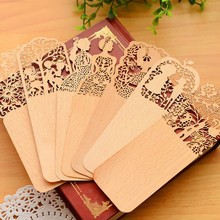 24 pcs/lot Creative Vintage wood bookmarks Korean Hollow Lace paper book marker Xmas gift stationery office school supplies(China (Mainland))