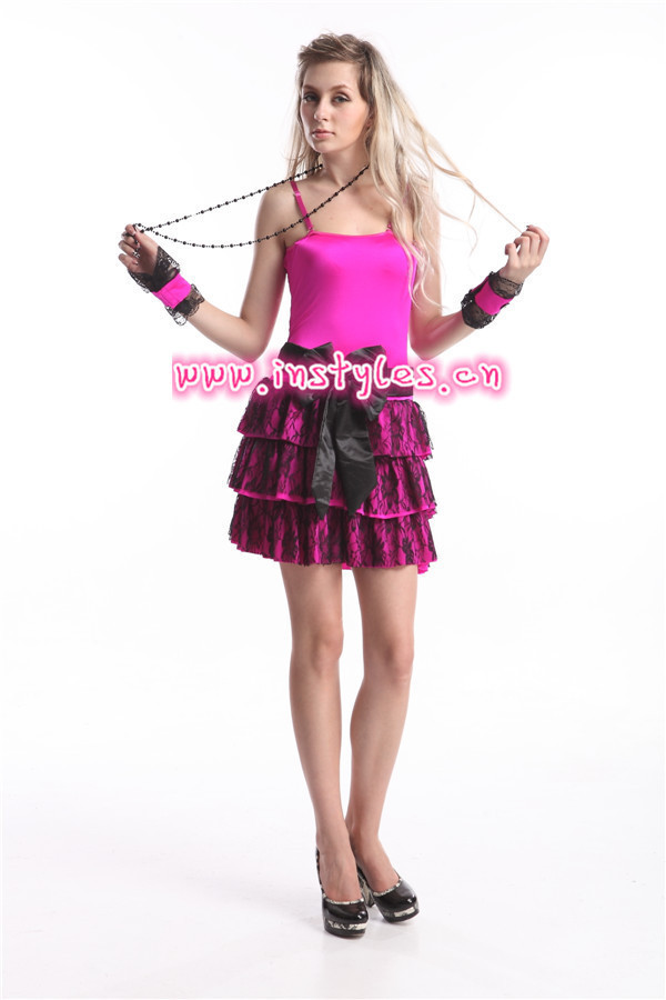 Free Shipping 2015 New Style Sexy 80s Madonna Pop Star Material Girl Dress Up Costume Party