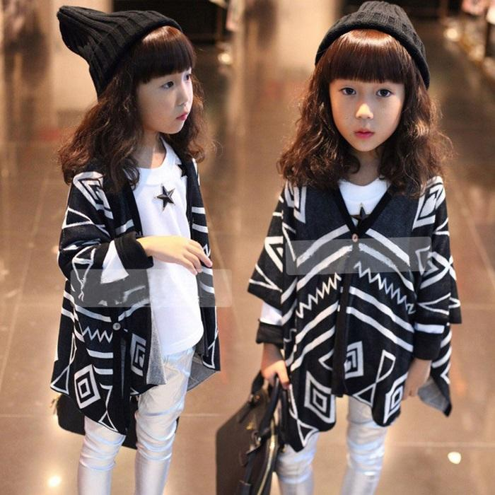 2015 new korean Childrens Clothing summer girls princess long sleeve Geometric knitted shawl cardigan jacket EE-637