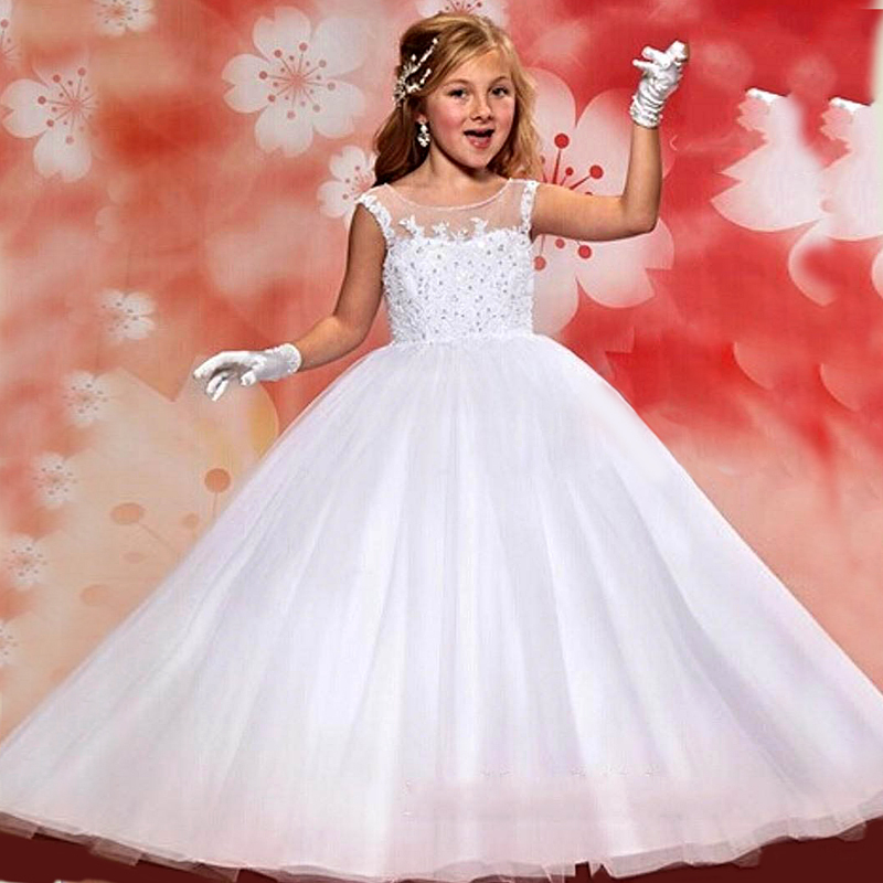 Baby Pageant Dress 2015 First Communion Dresses White Ball Gown Flower Girls Weddings - Lowime Wedding Factory store