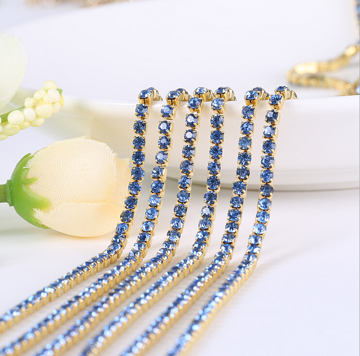 SS6-S12 Rhinestones Cup Chain Gold Metal base light blue Crystal Sew on Rhinestone Wedding Dress Women Bags Stone TRC025()