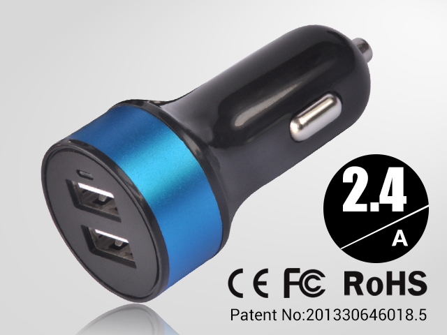 1 pcs blue Mini 2.4A Round Dual USB car charger 2 port Widely used in auto for mobile phone for PDA for PPC freeshipping(China (Mainland))