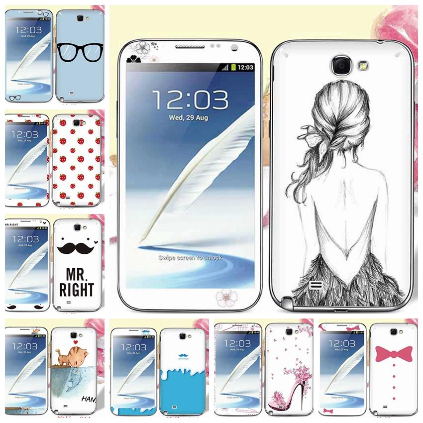 Cartoon Cat Fish Leopard Giraffe Screen Protective Film Skin For Samsung N7100 Galaxy Note 2 II Front Back Protector Sticker(China (Mainland))