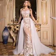 Evening Dress Sexy Long 2017 Sheer Scoop Neckline Mermaid Style Applique Floor Length White And Champagne Arabic Evening Gowns(China (Mainland))