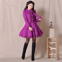 BOHOCHIC Original Romantic Organza Stand Collar 2015 Autumn Winter Skirt Style Womens Woolen Coat Purple YH0069D Boho Chic(China (Mainland))