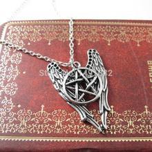 1PCs Pentagram Supernatural Necklace Pendant Castiel Wings Angel Wicca Pendant Jewelry for Gift