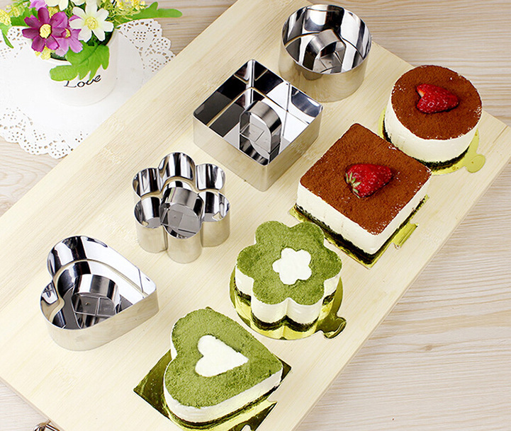 2016 New 4 Forms Stainless Steel Mousse Cake Mold Egg Ring Egg Cookie Cutter Set Pastry Cutter(China (Mainland))