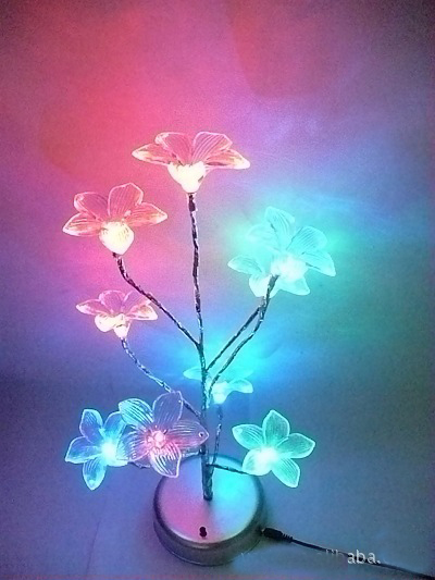 S00750 Mini Blue Lily Flower Tree LED Night Light Lamp For Home Desk Festival Decoration(China (Mainland))