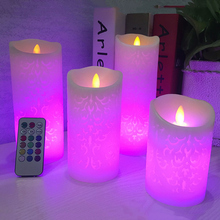 Dancing flame LED Candles with RGB Remote Control,Wax Pillar Candle for Wedding Christmas Decoration/room night light(China (Mainland))