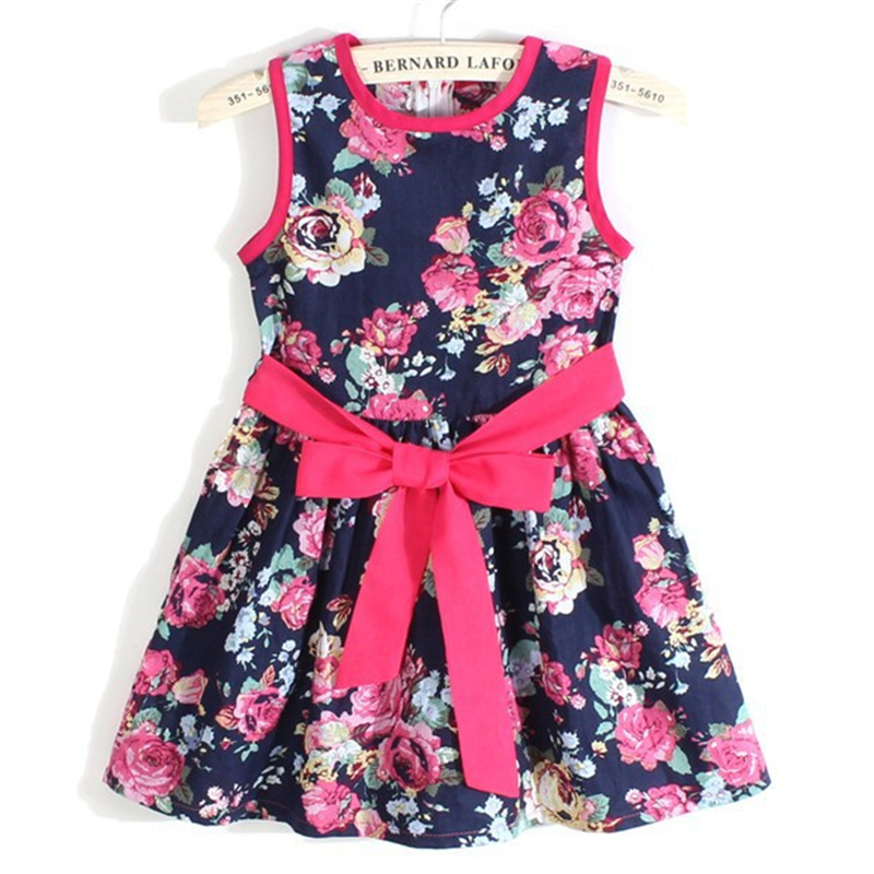 summer dress 2014 girl dress new free shipping  for 3-11 age bow floral  Girls Princess Party Bow Kids Formal Dress 23(China (Mainland))