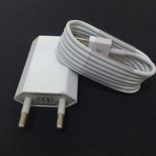 Mobile Phone Chargers Adapter For Apple iPhone 5 5S 6 6s PLUS EU Plug Wall charger + 8 Pin USB Data Sync charger Cable