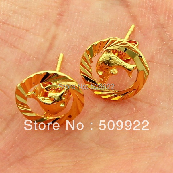 JE008 2013 Gold Jewelry Earring Online 24K Gold Vacuum Plated Lovely Dolphin Design stud Earing Low Price Women Jewelry Earring(China (Mainland))