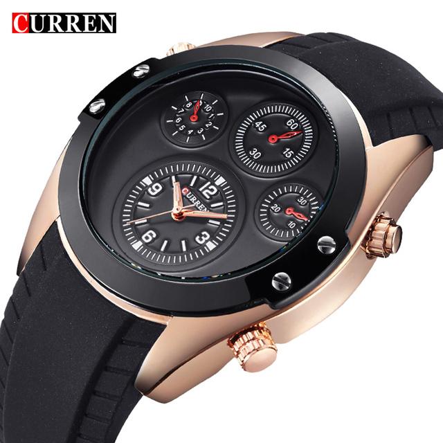 2016 Curren приборной панели декор водонепроницаемый кварцевые часы мужские свободного покроя мода уникальный наручные мужские марка качество силиконовый ремешок