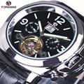 FORSINING luxury mechanical automatic brand watch leather strap date AUTO Flywheel Tourbillon Mens Wristwatch relogio Gift