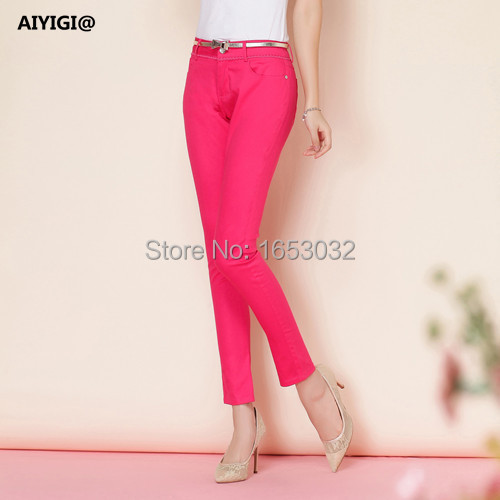 Aiyigi Women's Pants Elegant Ladies Candy Colors Casual Trousers Harem Cotton Office Work Female Pencil Plus Size 14050 - AIYIGI@ Brand Flagship Store store
