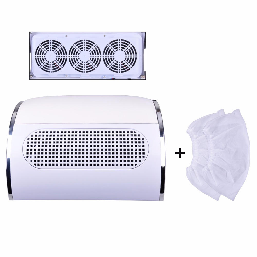 Nail Art Dust Suction Collector 3 fans Nail dust collector nail dust cleanser collector Nail dryer machine with 2 bags(China (Mainland))