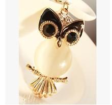 Animal opal owl  keychain/new 2014 Korean designer brand luxury fashion jewelry men key accessories wholesale/chaveiro llaveros