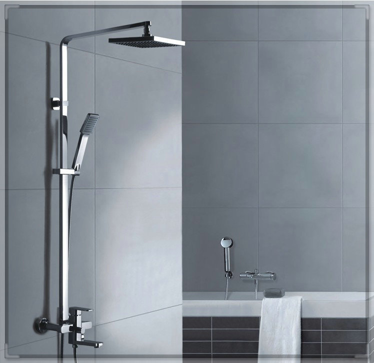 2014 Single Holder Dual Control Shower Set for Square Double Brass Rushed Top Fasion Chuveiro Quadrado Rain Shower Douche Room b(China (Mainland))