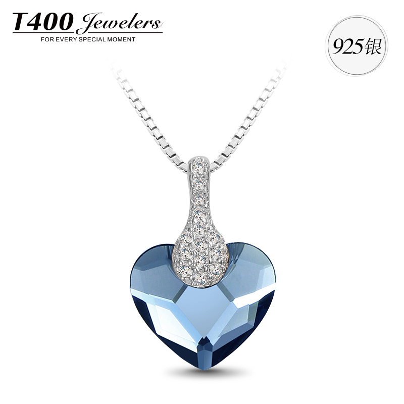 T400 Best birthday gifts fashion silver crystal pendant necklace heart shape pendants #10657,free shipping<br><br>Aliexpress