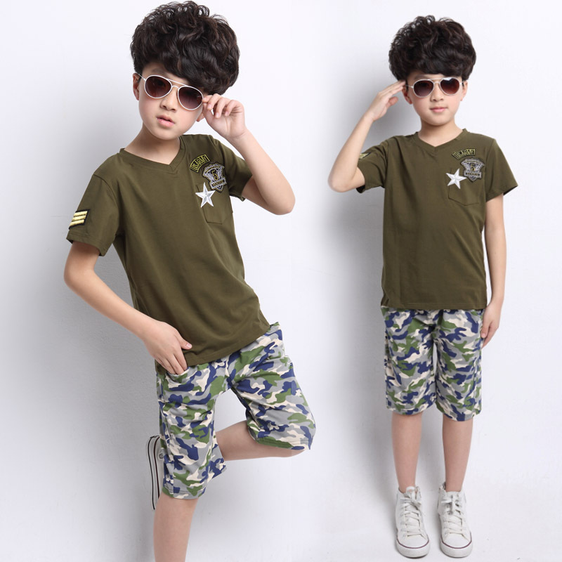 kids us army summer SHORT SLEEVE COTTON baby clothes chlothing child children's suit boy boy's girls child's set