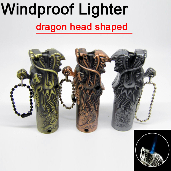 2015 New Creative Dragon head shaped lighter Portable cigarette lighter Smoking gadgets Butane torch Gas Lighters gift for men(China (Mainland))