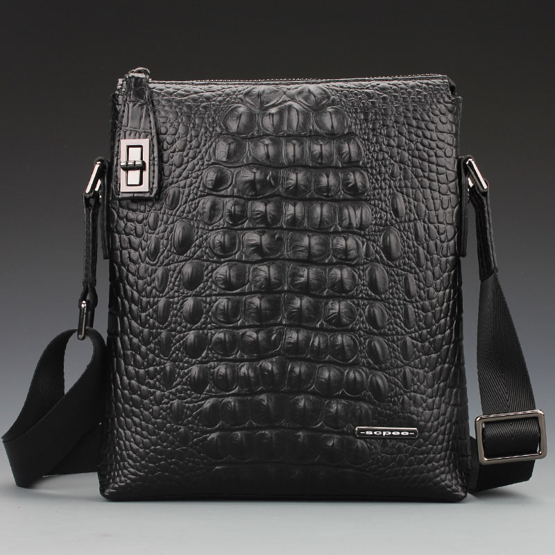 Anti-theft lock Messenger bag crocodile lines of men's business casual leather briefcase shoulder bag wholesale prices(China (Mainland))