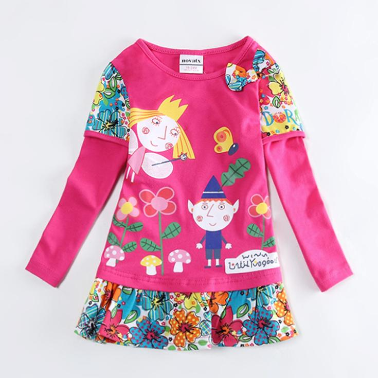 18M/6Y baby girls ben and holly 's little kingdom t shirt,kids long sleeve rose red pink casual t shirt,children fashion dress(China (Mainland))