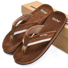 Nuevo 2015 del cuero genuino hombres sandalias exterior verano zapatillas planas casuales de color marrón moda para hombre playa chanclas(China (Mainland))