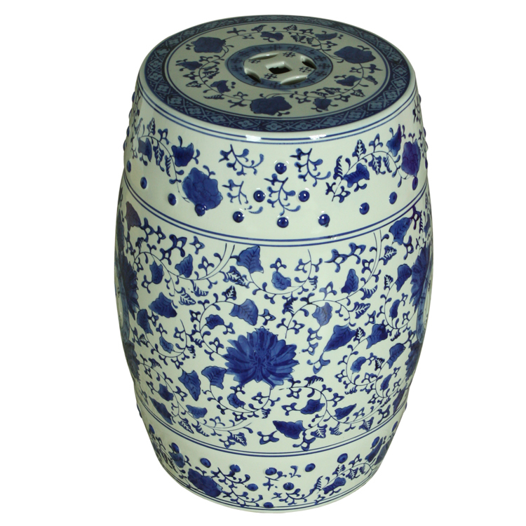 Blue and White Indoor Chinese ceramic Stool home decoration drum porcelain garden stool handmade ceramic garden stool costco(China (Mainland))