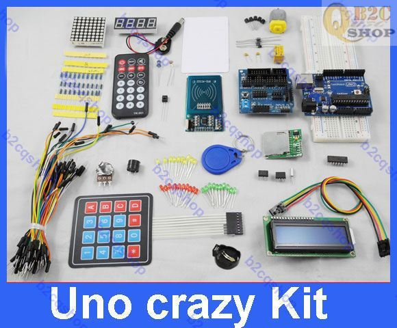 Electronic Project Starter Kit Uno Crazy kit RFID i2c lcd SD RTC 1307 EEPROM IR Matrix keypad Leds with Lesson of arduino