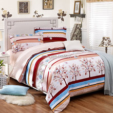 A family of four autumn and winter sanding thick warm cashmere denim plant bed sheets pillowcases(China (Mainland))