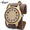 Punk style Mens Watches Top Brand Luxury Antique Bamboo Wooden 12 Holes Quartz Watches With big