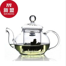 Creative pot of transparent heat-resistant glass teapot suits Filter pu 'er tea kungfu tea set More fruit flower pot 600ML