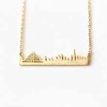 2015 Gold Silver Stainless Steel Unique Jewelry San Francisco Golden Gate Skyline Necklace Women and Men