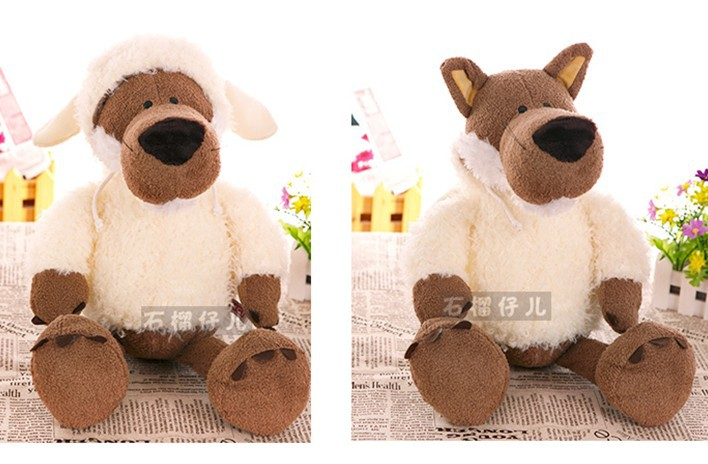 Super cute 1pc 35cm NICI home decoration plush cartoon wolf hold doll stuffed toy creative children baby gift(China (Mainland))