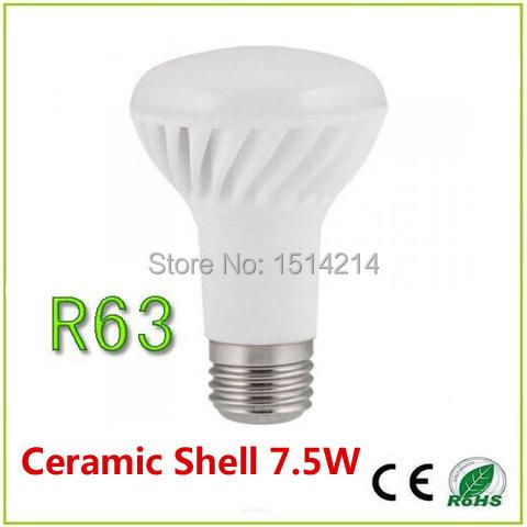 Free shipping Ceramic R63 Reflector LED Bulbs, led r63 light bulbs 7.5W, r63 led reflector bulb e27 warm white High brightness(China (Mainland))