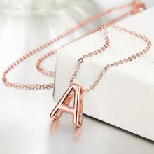 New 18K rose gold jewelry European style charm classic letter A pendant necklace fashion party jewelry BKN016(China (Mainland))