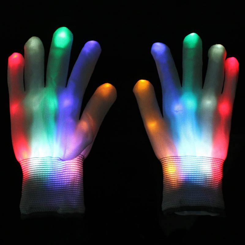 New 1 Pair LED Flashing Gloves Colorful Finger Light Christmas Halloween Party Decoration(China (Mainland))