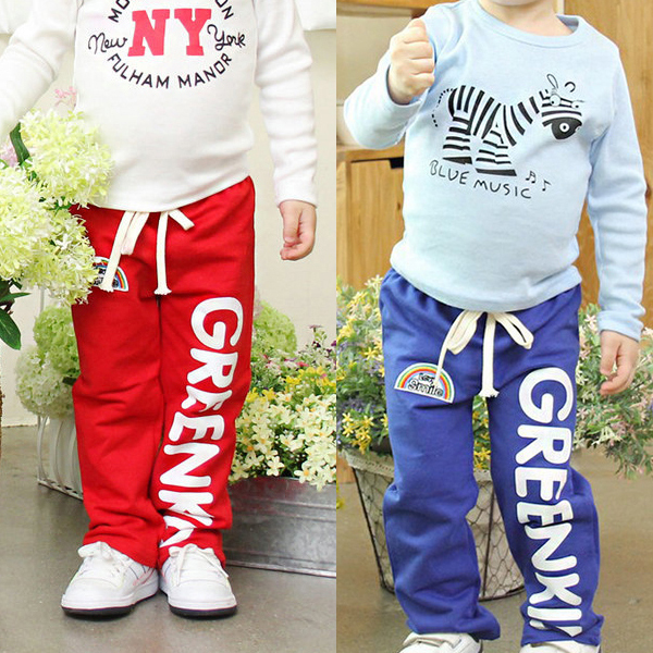 New Spring Fashion Kid Baby Boys Casual Long Pants Trousers Cotton Rainbow Pattern Bottoms 2-6Y(China (Mainland))