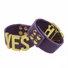 Suicide Squad Yes Sir Letter Bracelets Purple Harley Quinn Leather Prop Wristband Bracelet for Halloween Cosplay Accessories(China (Mainland))